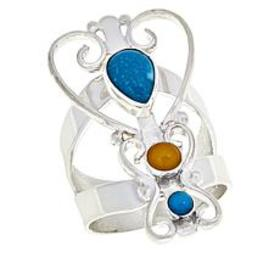 Jay King Turquoise and Butterscotch Amber Ring