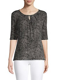 Premise Dotted Roundneck Top BLACK WHITE
