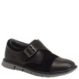 Boys Leather & Suede Monk Strap Shoes