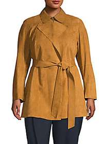 Lafayette 148 New York Point Collar Suede Trench C