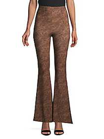 Free People Harper Printed Flared Pull-On Pants BR