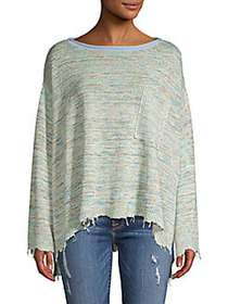 Free People Prism Pullover Spacedye Top GREEN COMB
