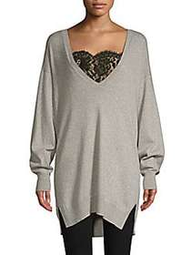 Joie Irita Lace Trim Longline Sweater HEATHER GREY