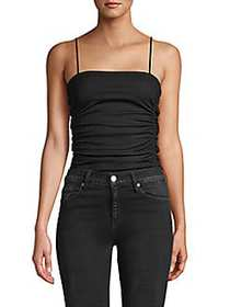 Free People Ruched Squareneck Bodysuit BLACK