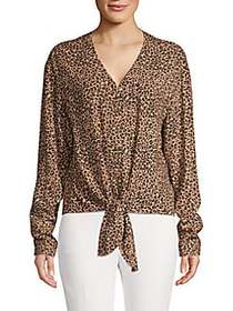 C&C California Animal-Print Tie-Front Top WESTERN
