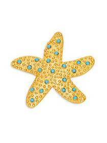 Kenneth Jay Lane Goldtone & Turquoise Starfish Bro