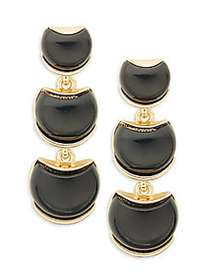 Kenneth Jay Lane Goldtone & Resin 3-Tier Drop Earr