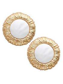 Kenneth Jay Lane Textured Goldtone Earrings NO COL