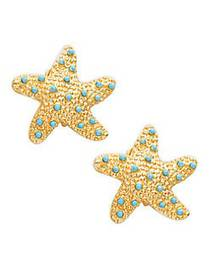 Kenneth Jay Lane Goldtone & Turquoise Starfish Cli