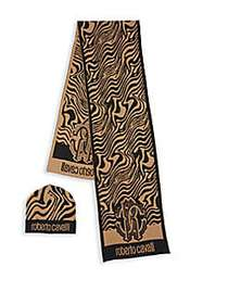 Roberto Cavalli 2-Piece Abstract Wool Blend Scarf
