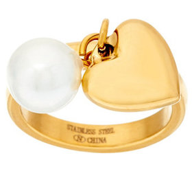 Stainless Steel Heart & Pearl Charm Ring - J323851