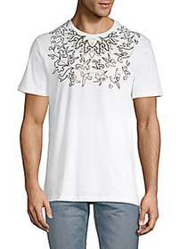 Versace Collection Foil-Print Cotton Tee WHITE