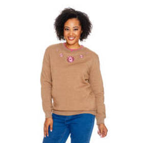 Hasting & Smith Crew Neck Long Sleeve Floral Studd