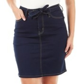 HYDRAULIC Petite Tie Waist Denim Pencil Skirt