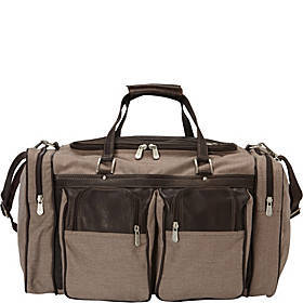Piel 20in Duffel Bag with Pockets - Canvas and Lea