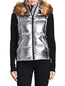 S13 Metallic Faux Fur Hooded Puffer Vest MICA