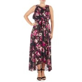SHELBY NITES Pleat Neck Floral Chiffon High-Low Ti