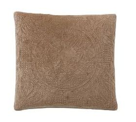 Pottery Barn Velvet Medallion Quilted Shams - Sand