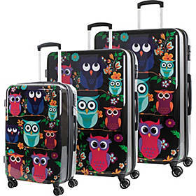 American Green Travel Owls 3 Piece Expandable Hard