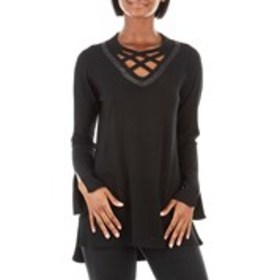FAMOUS MAKER Studded Sweater with Lattice Neckline