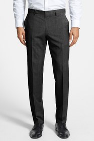 BOSS Genesis Flat Front Slim Fit Solid Wool Trouse