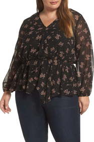 1.State Ditsy Wrap Front Blouse (Plus Size)