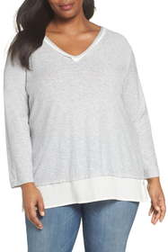 Vince Camuto Woven Hem Layered Top (Plus Size)