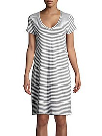 Lord & Taylor Striped Cotton Sleepshirt WHITE
