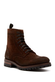 Frye George Brogued Suede Lace-Up Boot