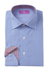 Lorenzo Uomo Mini Gingham Trim Fit Dress Shirt