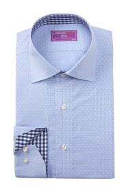 Lorenzo Uomo Dobby Plaid Trim Dress Shirt