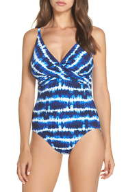 Tommy Bahama Tie Dye Cross Front One-Piece Swimsui