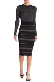 Kendall & Kylie Ribbed Metallic Stripe Wool Blend