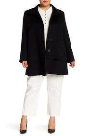 Fleurette Funnel Neck Wool Coat (Plus Size)