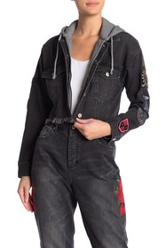 Kendall & Kylie Cutoff Patchwork Hooded Denim Jack