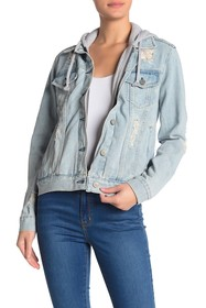 Kendall & Kylie Hooded Distressed Denim Jacket
