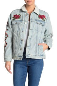 Kendall & Kylie Faux Shearling Rose Embroidered De