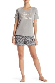 Tart Lark Ruffle Trim Top & Shorts Pajama 2-Piece