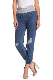 Kendall & Kylie French Terry Contrast Distressed J