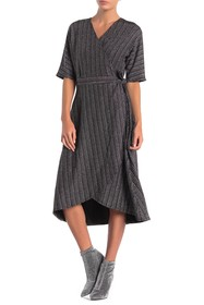 Spense Lurex Stripe Dolman Sleeve Wrap Dress