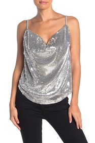 KENDALL AND KYLIE Sequin Cowl Neck Tank