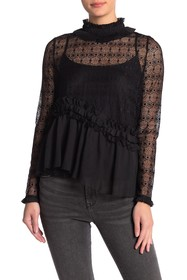 Kendall & Kylie Mock Neck Lace Peplum Top