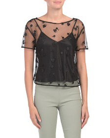 JOSIE NATORI Lace Top With Camisole