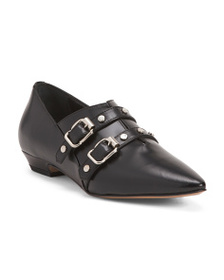 NAPOLEONI Made In Italy Double Buckle Leather Flat