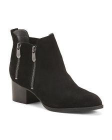 ADRIENNE VITTADINI Burnished Suede Ankle Booties