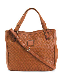 MALATESTA Made In Italy Woven Leather Tote