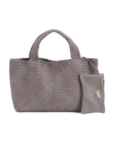 FALOR Made In Italy Woven Braided Leather Tote