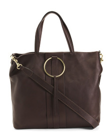GIANNI CHIARINI Made In Italy Leather Ring Tote