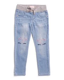 SQUEEZE Little Girls Unicorn Knee Pull On Jeans