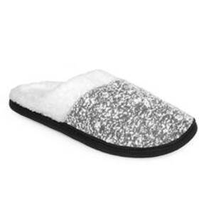 Womens Gold Toe® Marled Knit Slippers with Fur Col